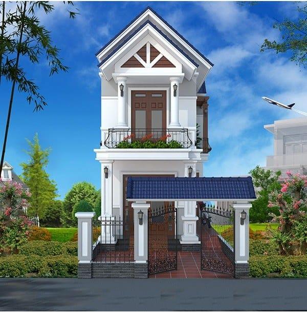 Ngôi nhà bao phủ bởi màu xanh xám trẻ trung hiện đại