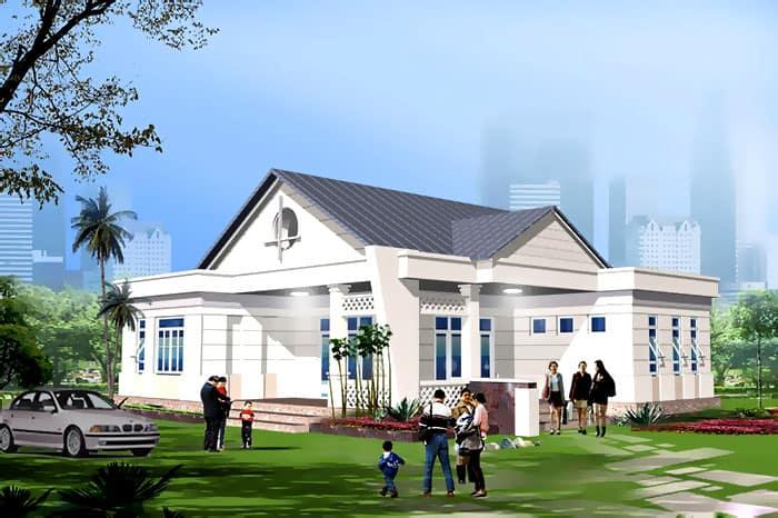 Thiết kế nhà vườn 1 tầng mái thái chữ L đẹp công năng