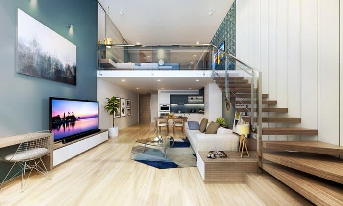 Thiết kế cầu thang hợp phong thủy cho phòng khách ở trên gác lửng