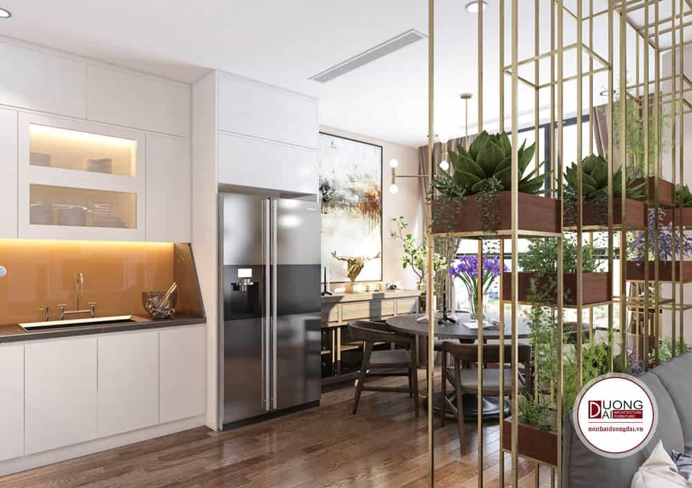 Phòng bếp tiện nghi với tủ bếp lớn