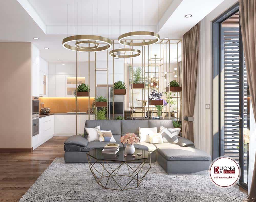 Phòng khách của thiết kế căn hộ Sunshine Garden