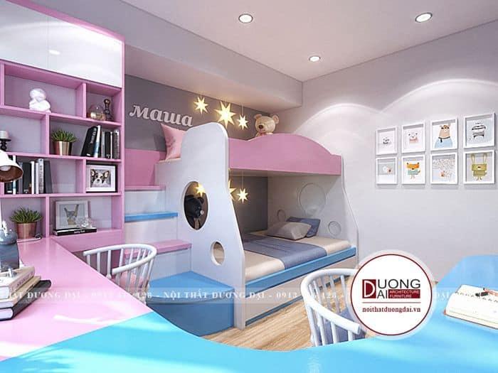 Phòng ngủ cho bé màu hồng với nội thất thông minh
