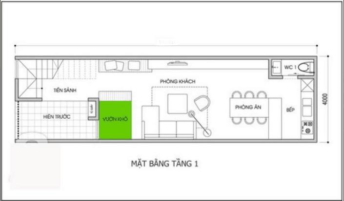 thiết kế nhà 2 tầng 4x10m