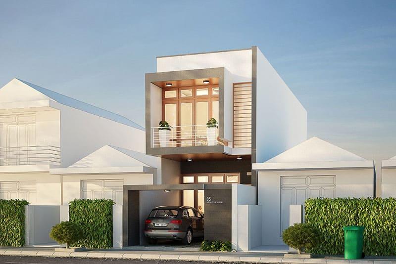 Ngôi nhà này dành riêng vị trí tầng 1 để xây gara đẹp mắt