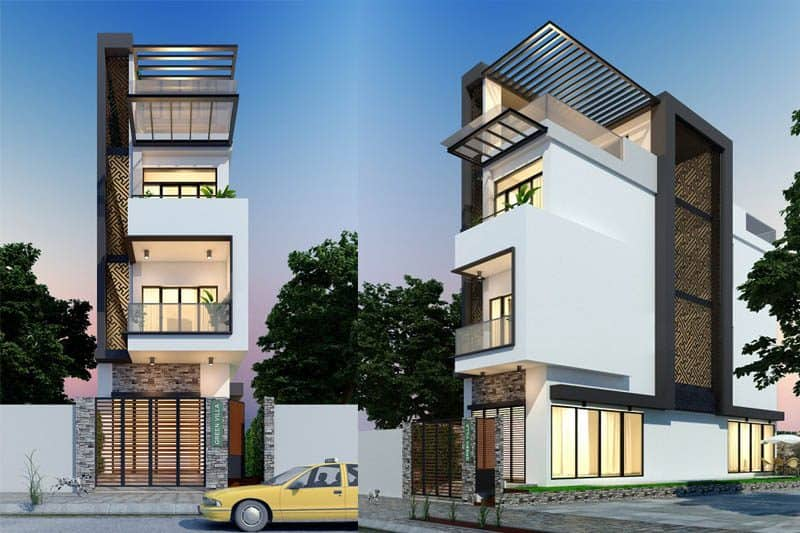 Kiến trúc sư tận dụng những vân đá với họa tiết sang trọng để tăng điểm nhấn cho ngôi nhà