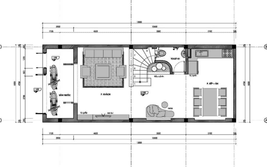 Thiết Kế Nhà Ống 1 Tầng 60m2 2 ngủ Anh Quang, Hà Nội