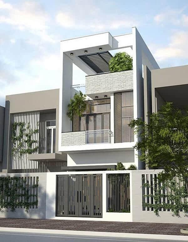 Nhà 2 tầng kết hợp 1 tum có không gian xanh