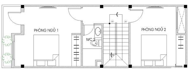 thiết kế nhà ống 2 tầng 4x12m