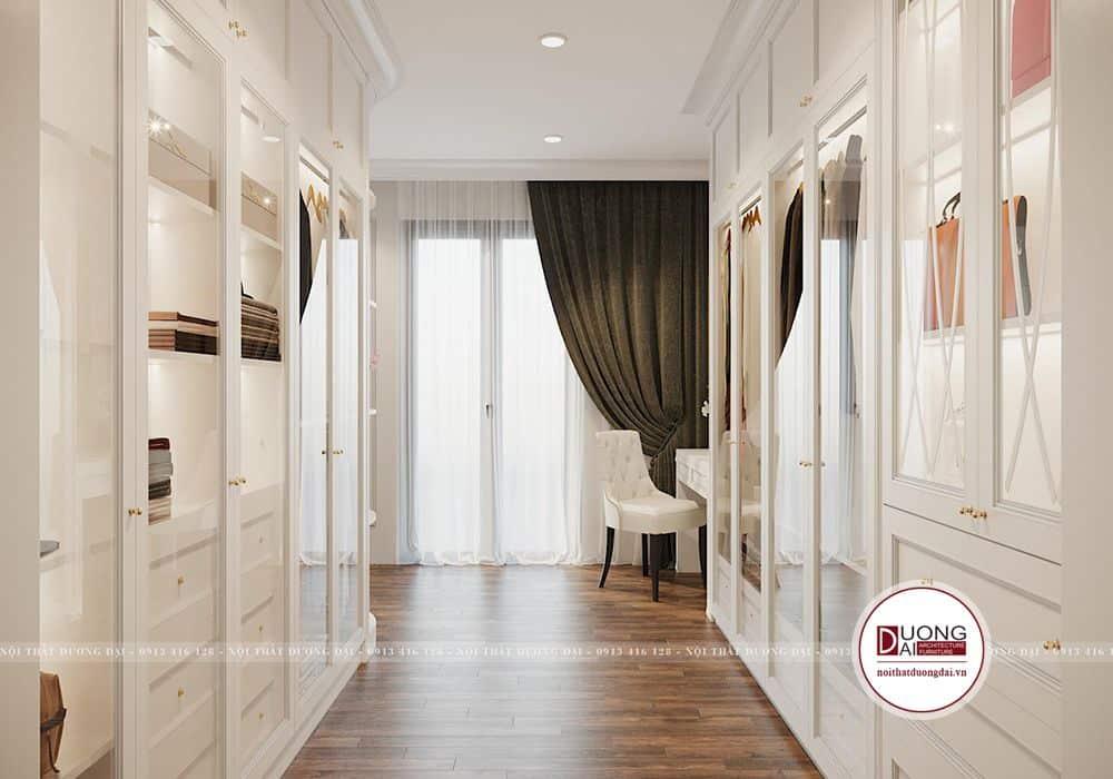 Thiết kế phòng kích thước lớn với tủ màu trắng quý phái, xa hoa