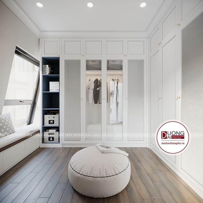 Thiết kế phòng tân cổ điển đơn giản với màu trắng trang nhã