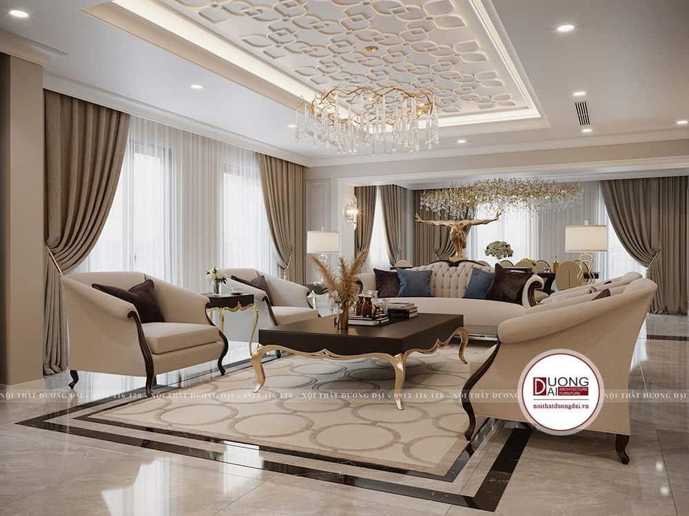 Thiết kế tân cổ điển với sofa màu be sang trọng