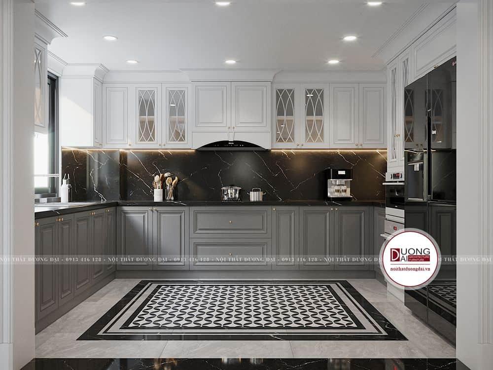 Tủ bếp kiểu dáng chữ U lớn theo phong cách tân cổ điển màu trắng