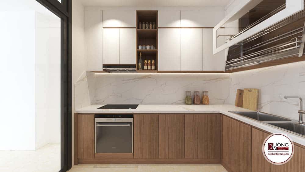 Phòng bếp đầy tiện nghi với tủ bếp gỗ MDF