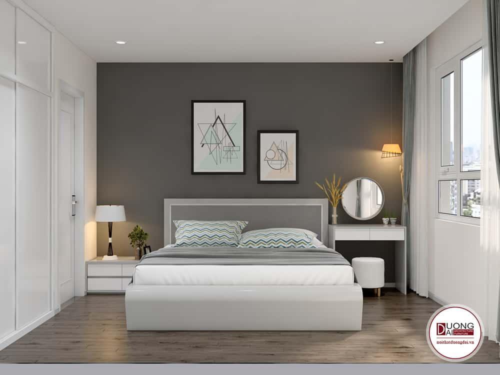 Phòng ngủ dễ chịu và thoải mái với hoa văn nhẹ nhàng