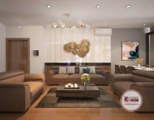 Phòng khách hiện đại với bộ sofa xếp chữ U bề thế