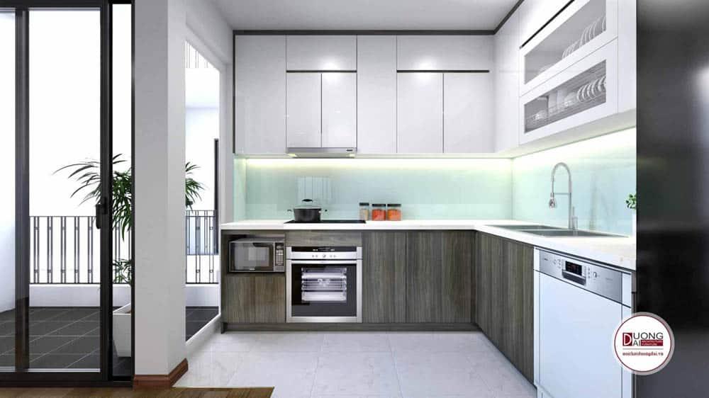 Phòng bếp sang trọng với tủ bếp tiện nghi