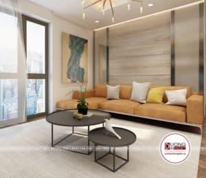 Phòng khách đầy cá tính và thẩm mỹ với bộ sofa màu cam