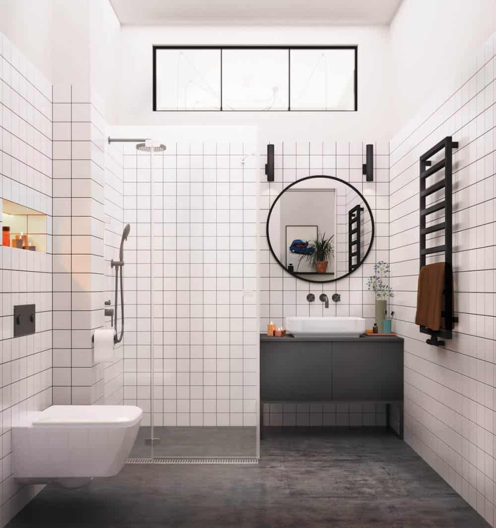 Phòng tắm nhỏ với màu trắng thanh nhã