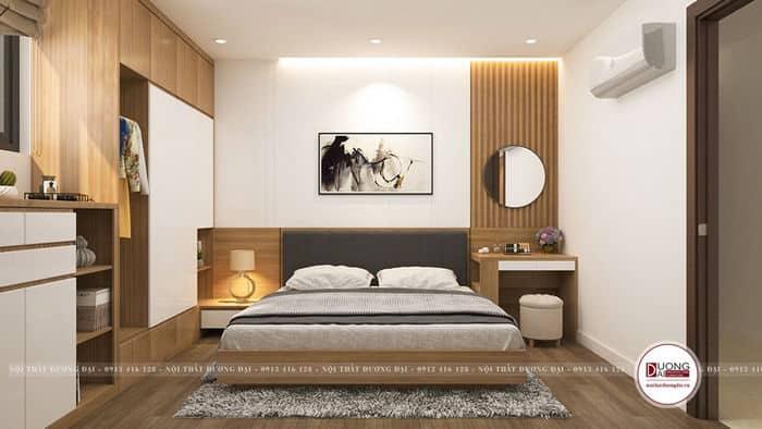 Thiết kế phòng ngủ Master màu nâu nhạt ấm áp và gần gũi