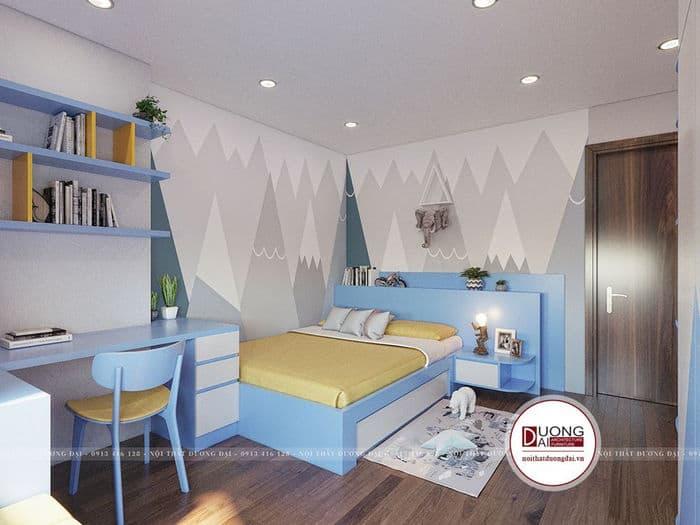 Phòng ngủ nhỏ xinh và đáng yêu với màu xanh và vàng tươi sáng