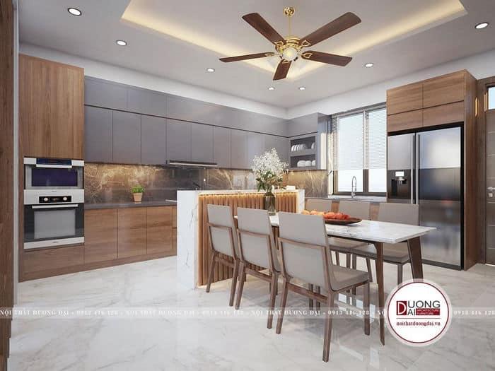 Khu vực bếp sang trọng và hiện đại với đầy đủ tiện nghi