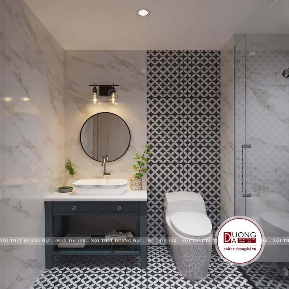 Phòng tắm đơn giản với đá lát hoa văn cá tính