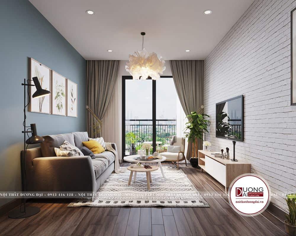 Màu xanh pastel được sử dụng cho bức tường tạo nét đẹp cá tính và trẻ trung