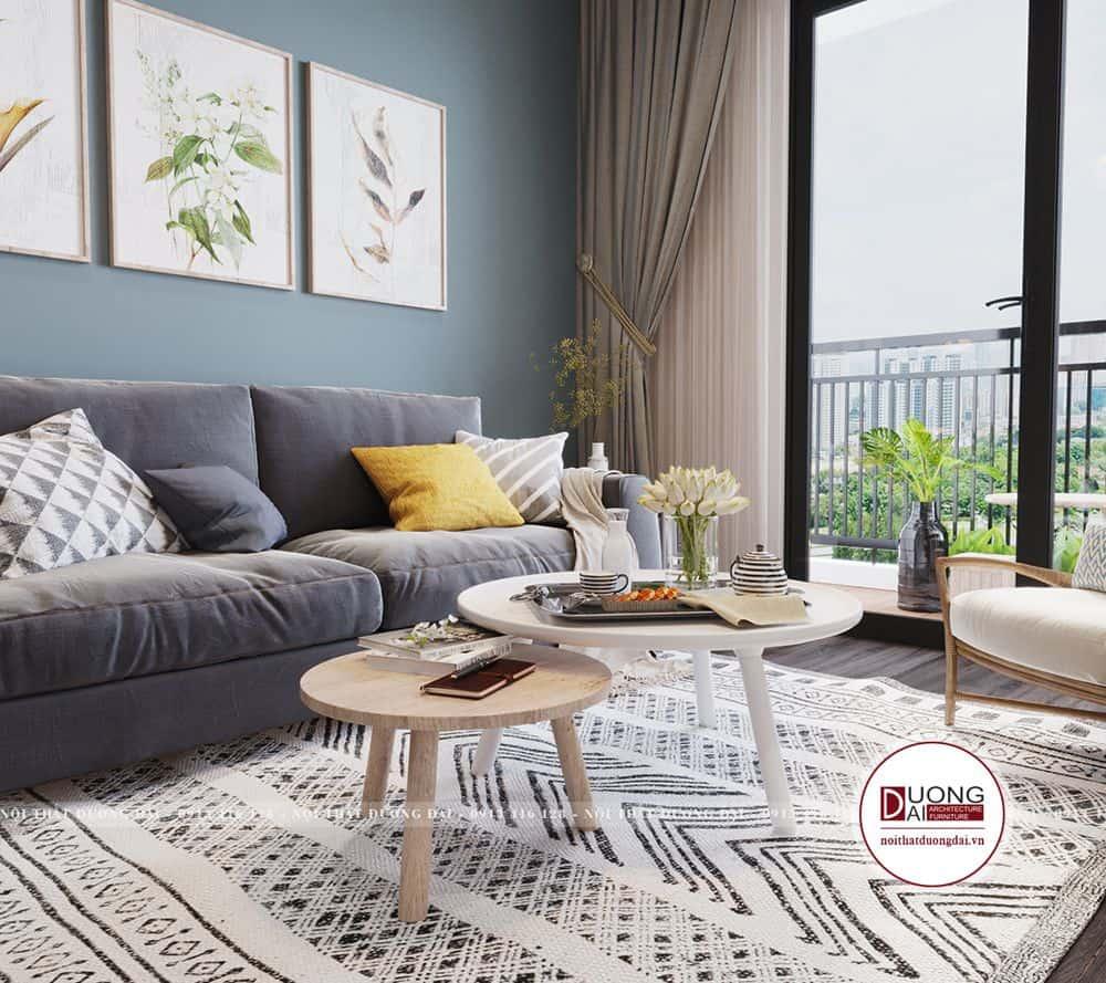 Bộ sofa và bàn trà nhỏ xinh làm phòng khách thêm ấm áp