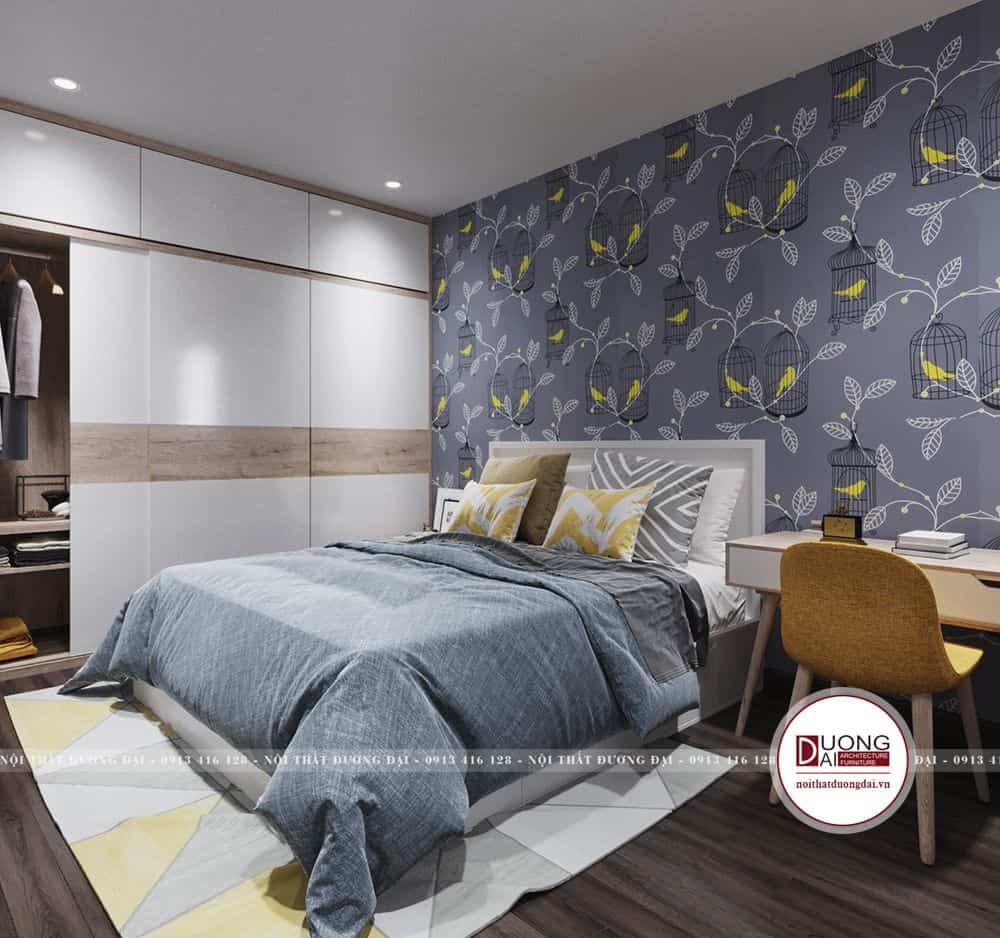 Thiết kế phòng ngủ ấn tượng với giấy dán tường hoa