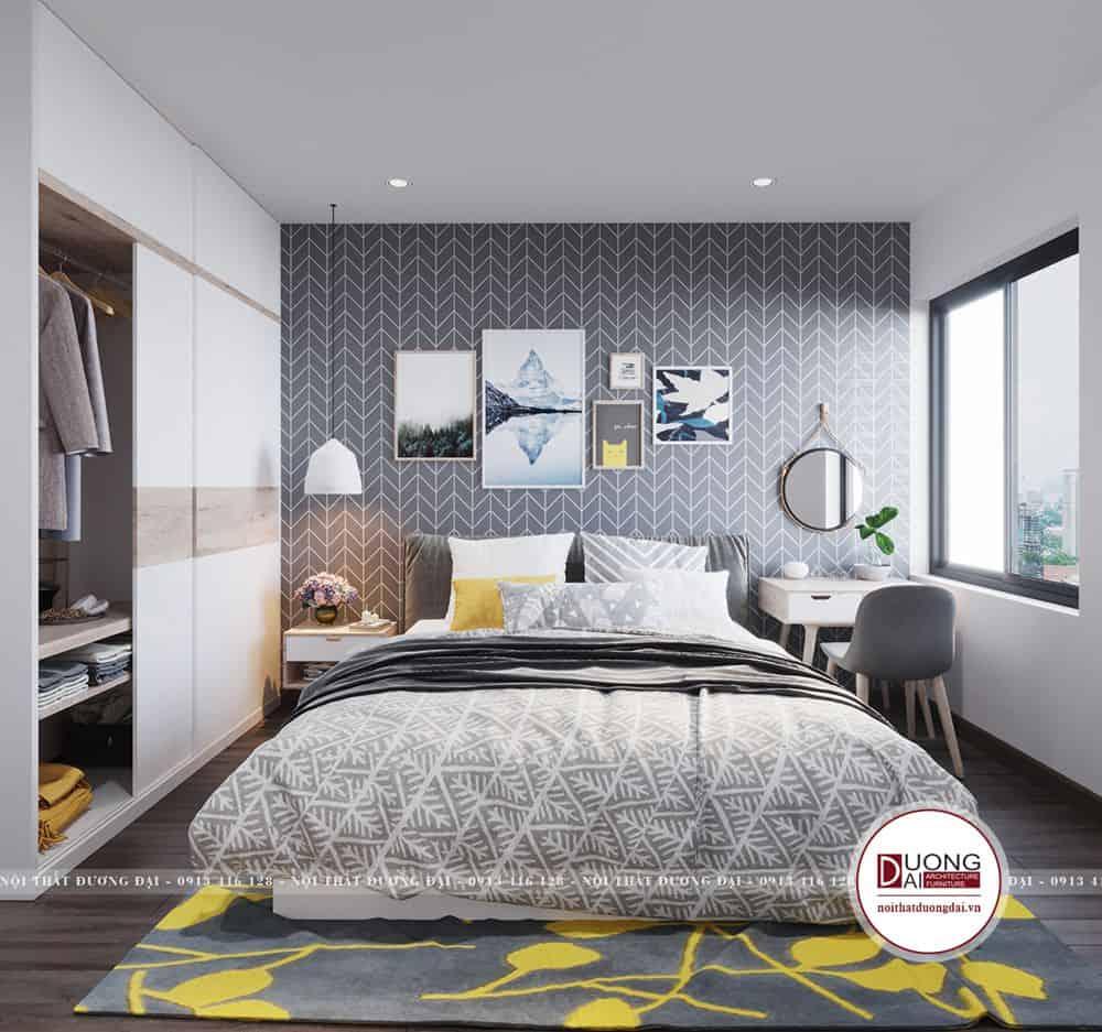 Phòng ngủ được trang trí tranh ảnh và thảm độc đáo