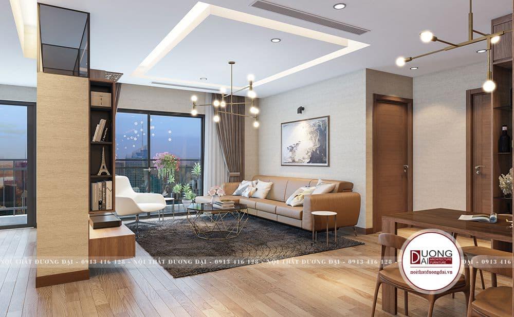 Phòng khách đẳng cấp của thiết kế căn hộ 110m2