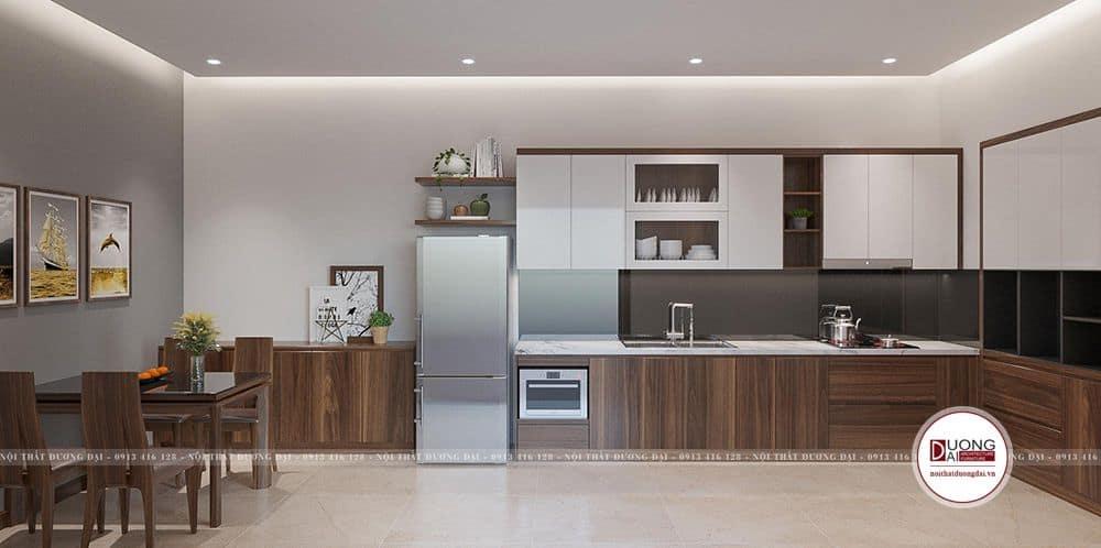 Thiết kế tủ bếp siêu đẹp âm tường đầy tiện nghi