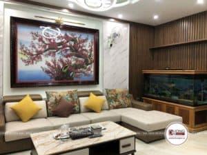 Phòng khách sang trọng và đẳng cấp của anh Hùng