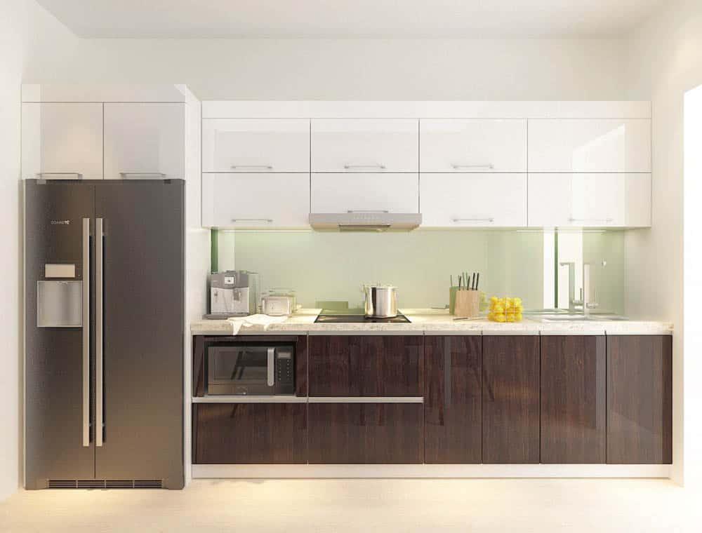 Kệ bếp chữ I nhỏ gọn làm rộng phòng bếp nhỏ