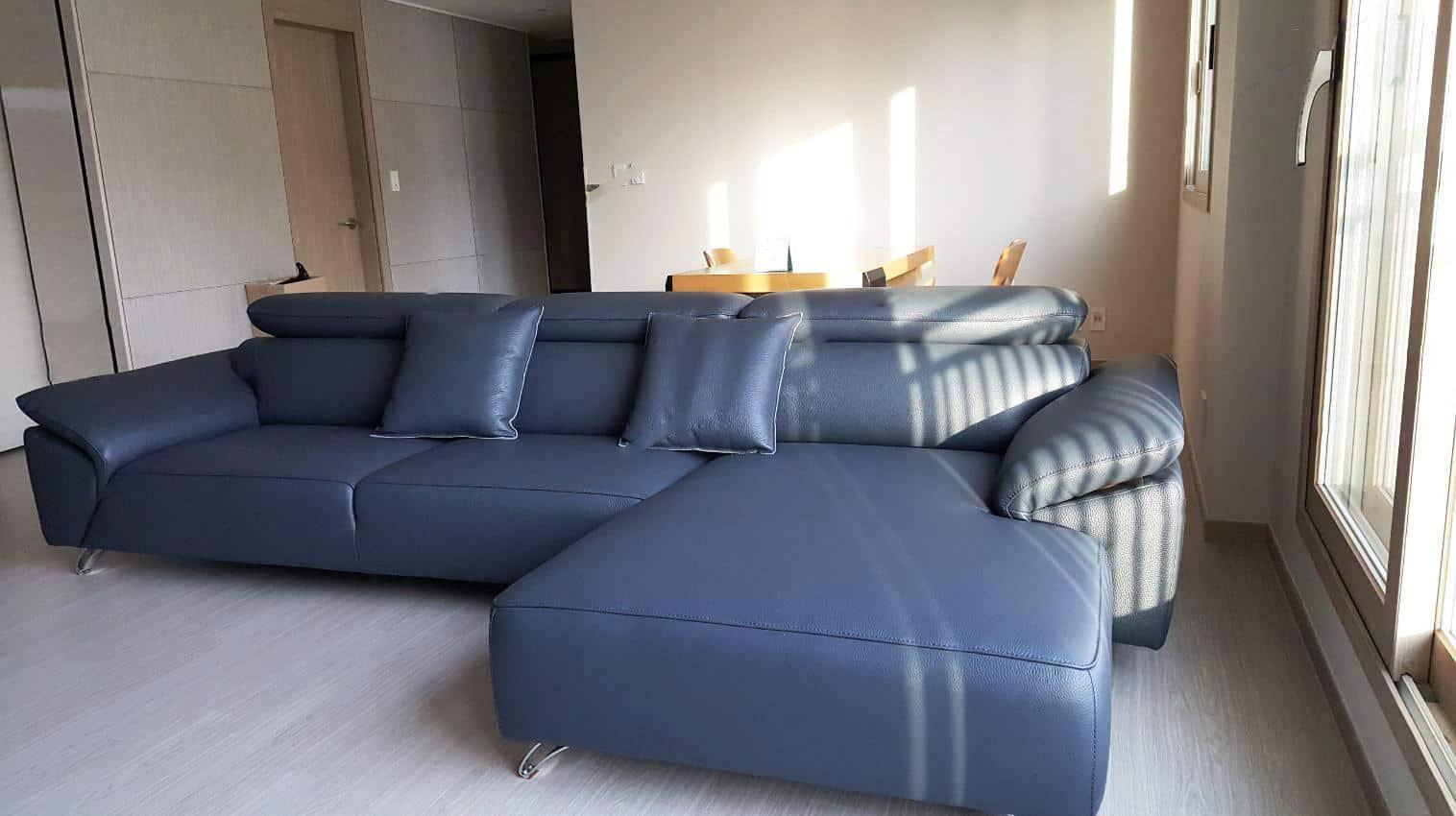 Sofa Da Màu Xanh   Bàn Giao Cho Chú Trung Ở Bắc Giang