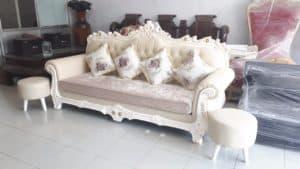 Sofa Da Màu Kem | Bàn Giao Cho Anh Nhất Ở Hải Dương