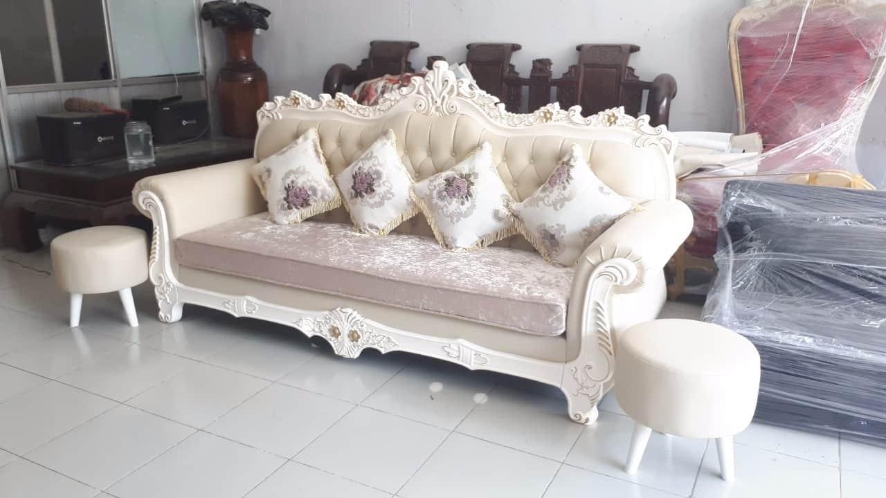 Sofa Da Màu Kem   Bàn Giao Cho Anh Nhất Ở Hải Dương