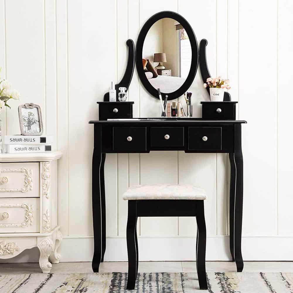 Mẫu bàn phấn đầy quyến rũ với màu đen bí ấn