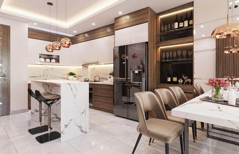 Mẫu phòng bếp nhỏ cho nhà phố 2 tầng sang trọng