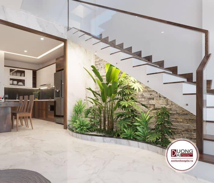 Tiểu cảnh giữa không gian phòng khách và bếp để tạo điểm nhấn