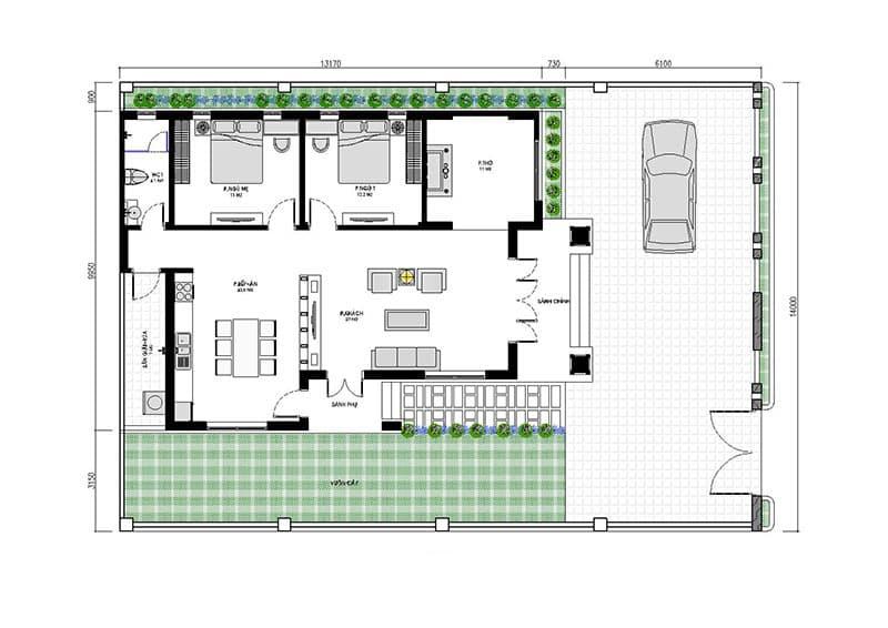 Biệt thự 1 tầng 2 phòng ngủ