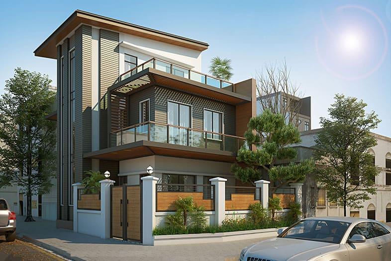 Kiến trúc nhà lệch tầng thoáng mát với vật liệu hiện đại