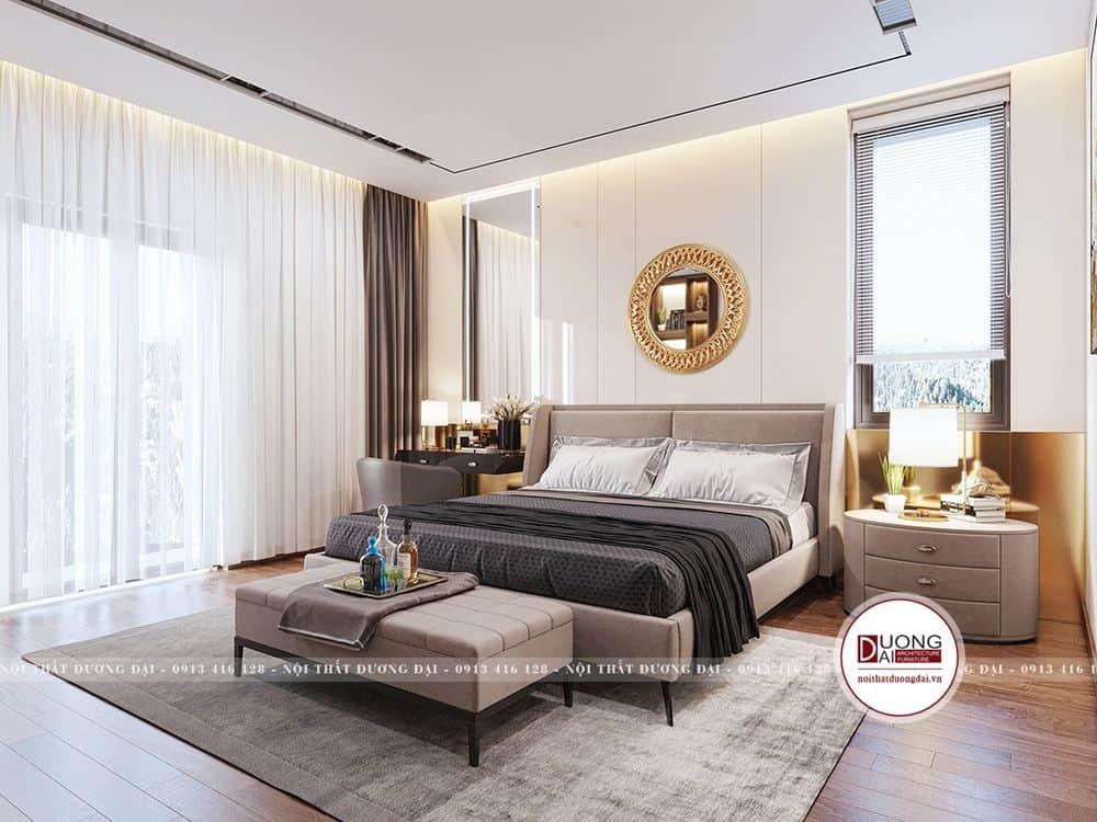 Không gian phòng ngủ master với thiết kế ấm áp và sang trọng