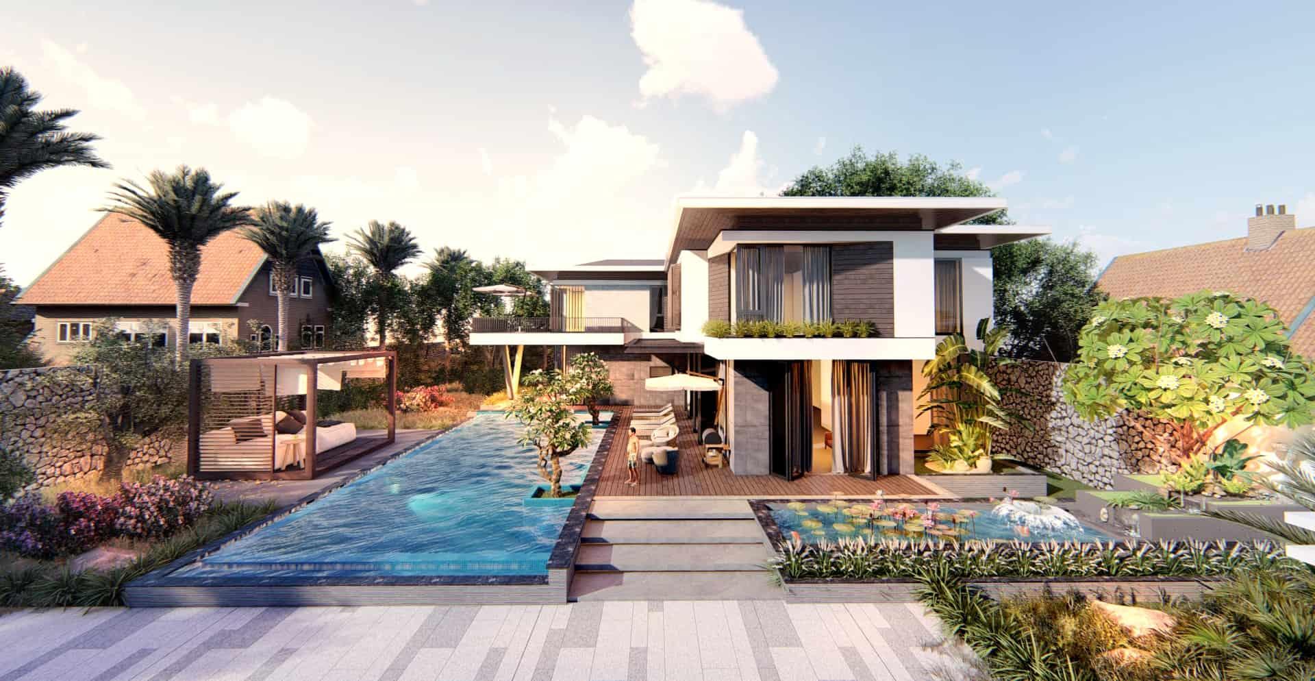Kiến trúc siêu hiện đại của biệt thự 2 tầng nghỉ dưỡng cùng bể bơi chữ nhật trải dài