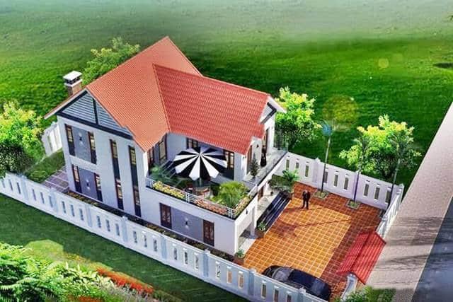 Không gian biệt thự 2 tầng mái Thái đỏ kiểu truyền thống