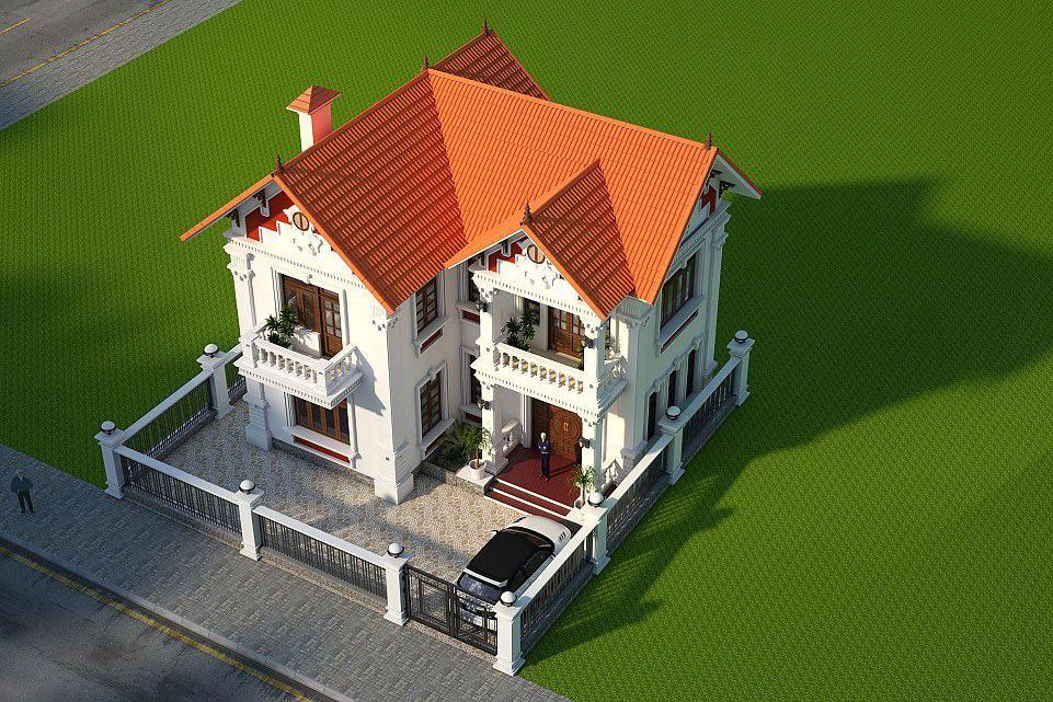 Mẫu biệt thự 2 tầng thiết kế theo kiến trúc mái chữ A hiện đại nhẹ nhàng