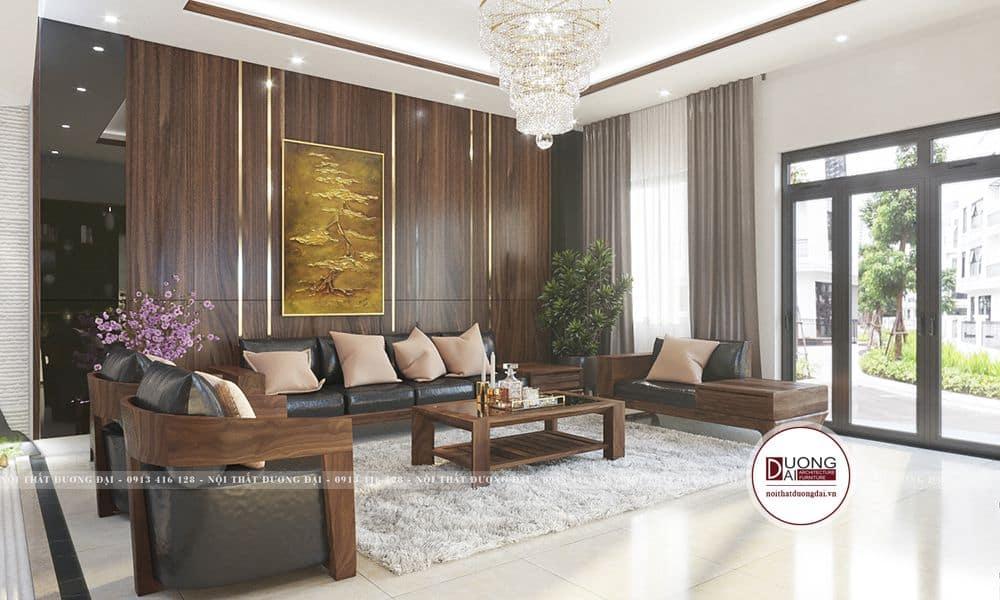 Không gian phòng khách sang trọng và thoáng đãng với vật liệu gỗ veneer óc chó
