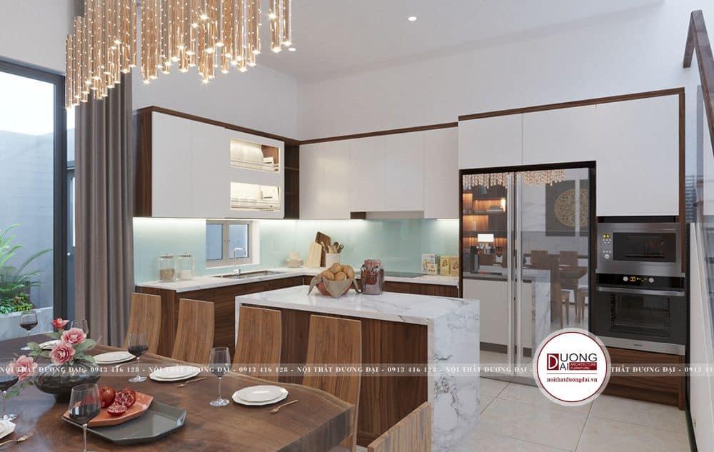 Không gian bếp nấu với đảo bếp ngăn đôi khu vực nấu và ăn uống