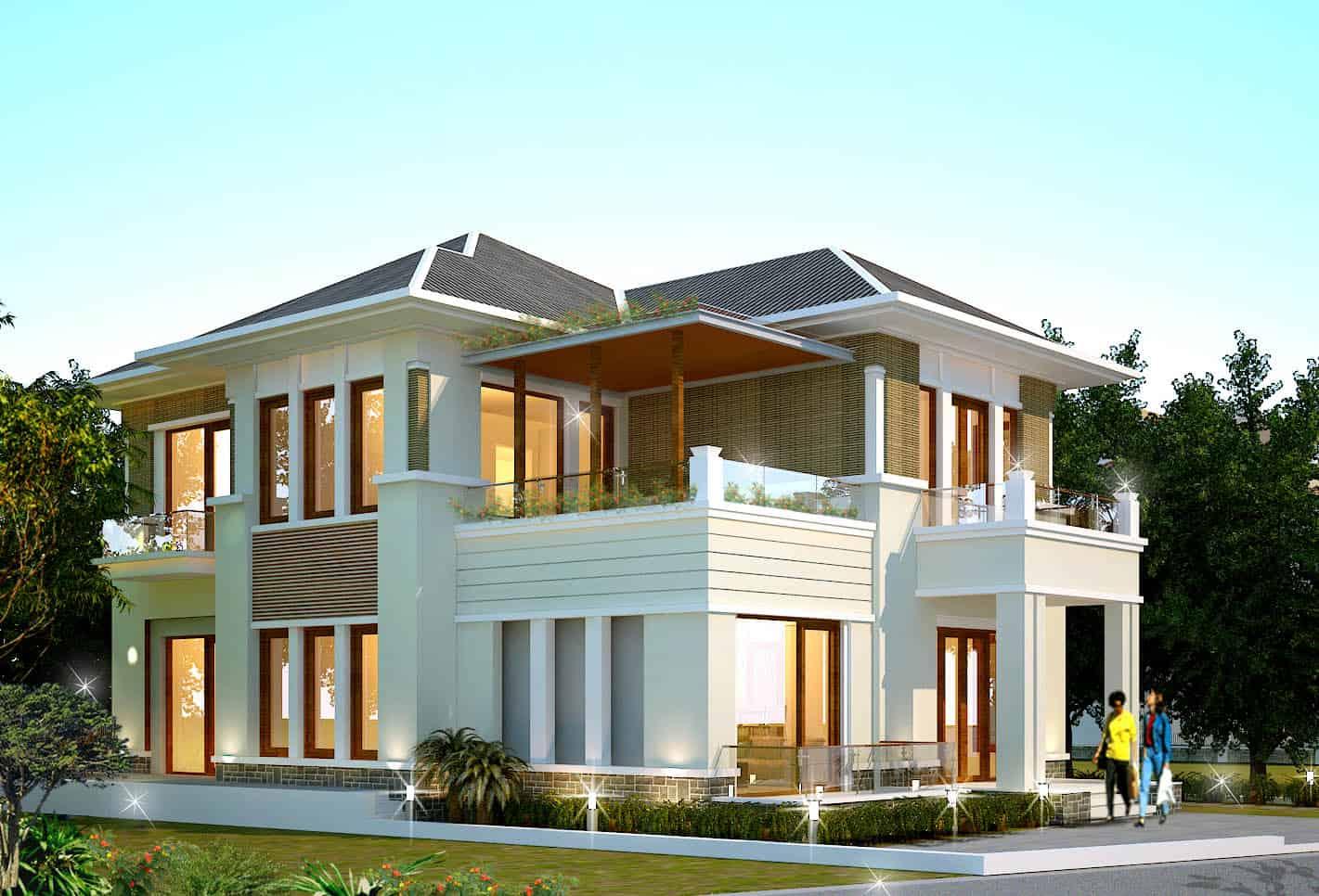 Thiết kế biệt thự đơn lập với không gian mở, tầm nhìn đẹp ra vườn