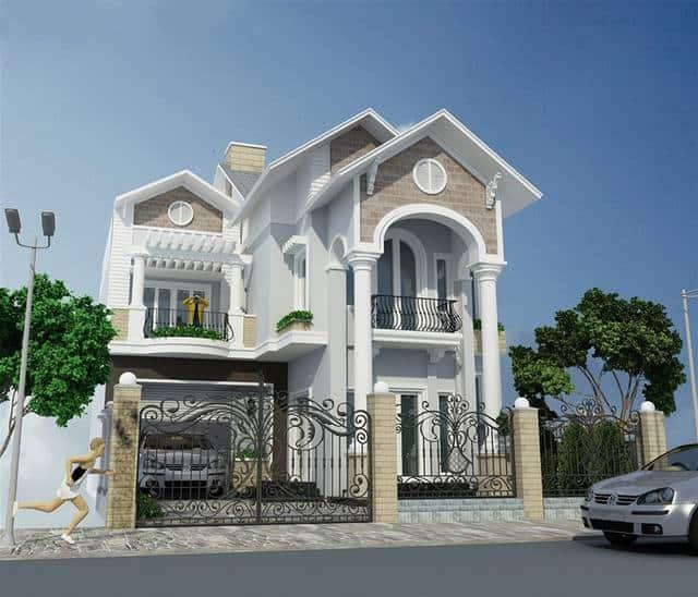 Biệt thự 2 tầng đẹp thiết kế theo phong cách tân cổ điển